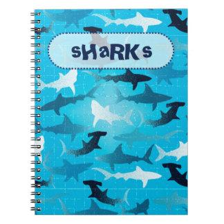 sharks! spiral note book