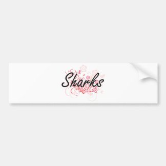 Sharks with flowers background bumper sticker