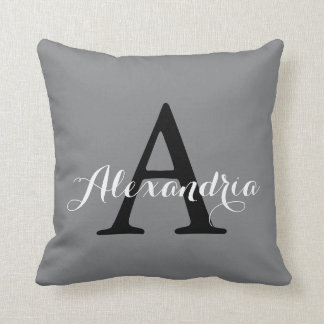 Sharkskin Gray Neutral Subtle Solid Color Monogram Cushion