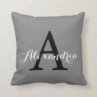 Sharkskin Gray Neutral Subtle Solid Color Monogram Throw Pillow