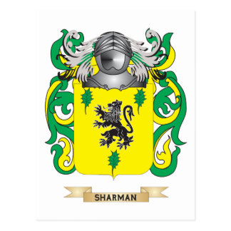 Sharman Coat of Arms Family Crest Post Card