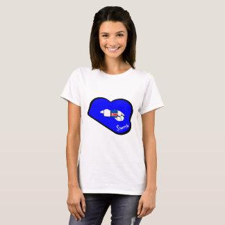 Sharnia's Lips North Korea T-Shirt (Blue Lips)