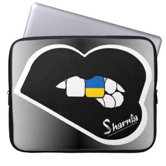 """Sharnia's Lips Ukraine Laptop Sleeve 15"""" Blk Lips"""