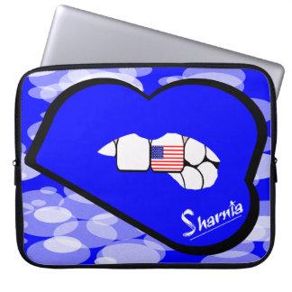 "Sharnia's Lips USA Laptop Sleeve 15"" (Blue Lips)"