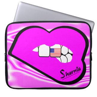 Sharnia's Lips USA Laptop Sleeve (Pink Lips)