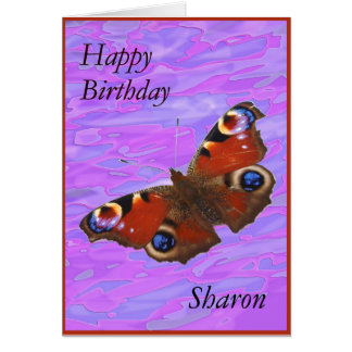 Sharon Happy Birthday Peacock Butterfly card