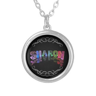 Sharon  - The Name Sharon in 3D Lights (Photograph Silver Plated Necklace