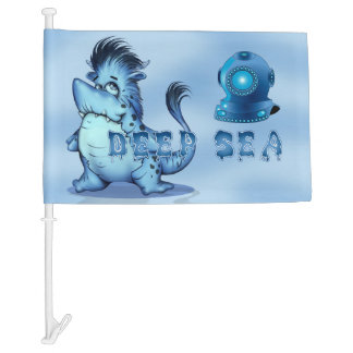 SHARP ALIEN MONSTER CARTOON Car Flag 3