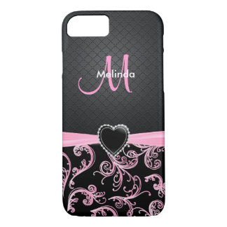 Sharp Black and Pink Floral Pattern iPhone 7 Case