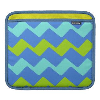 Sharp Blue and Green Wavy Stripes iPad Sleeve