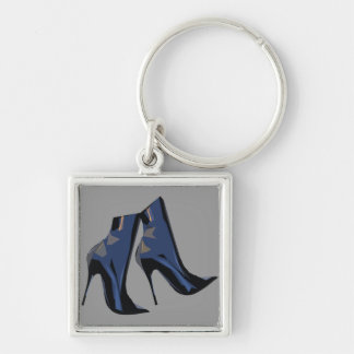 Sharp Boots (blue) Ankle Boot Art Silver-Colored Square Key Ring