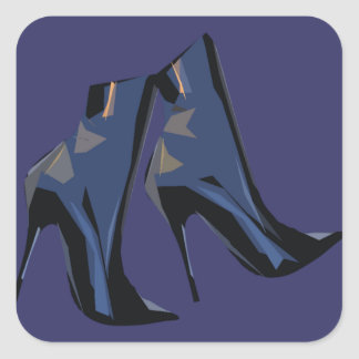 Sharp Boots (blue) Ankle Boot Art Square Sticker