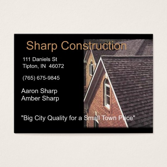 Sharp Construction - Brown and Black Business Card