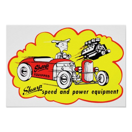 Sharp Equipment Vintage Hot Rod Logo Poster