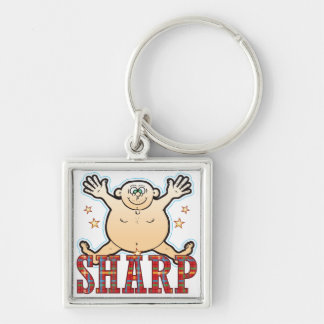 Sharp Fat Man Silver-Colored Square Key Ring
