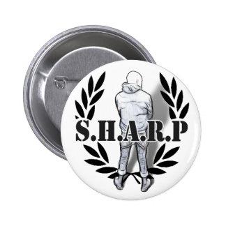 sharp skin standing 6 cm round badge