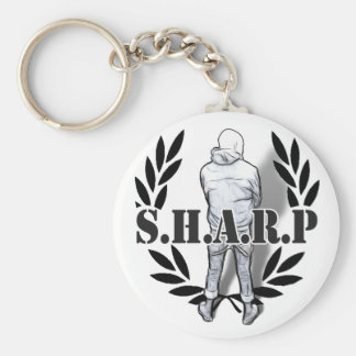 sharp skin standing basic round button key ring