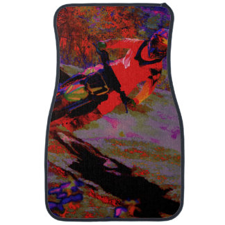 """Sharp Turn"" Motocross Rider Car Mat"