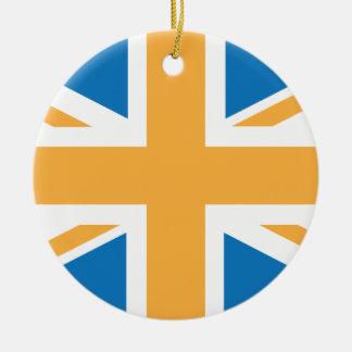 Sharpe Blue Orange Union Jack British(UK) Flag Christmas Ornament