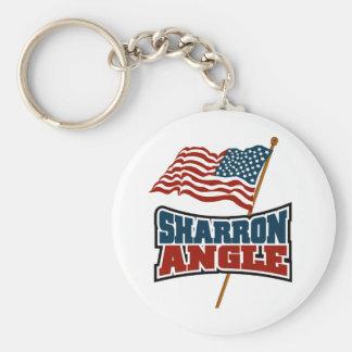 Sharron Angle Waving Flag Basic Round Button Key Ring