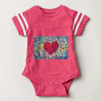 ShaSha's Digital Heart Baby Football Bodysuit