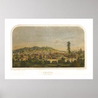 Shasta California 1856 Antique Panoramic Map Print