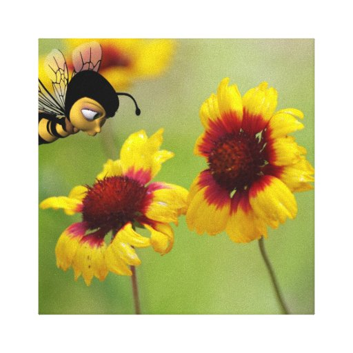 Shasta Daisies With Nonzomb Bee Canvas Print
