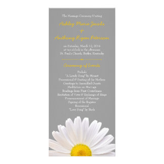 Shasta Daisy Flower Yellow Grey Wedding Program Personalised Rack Card