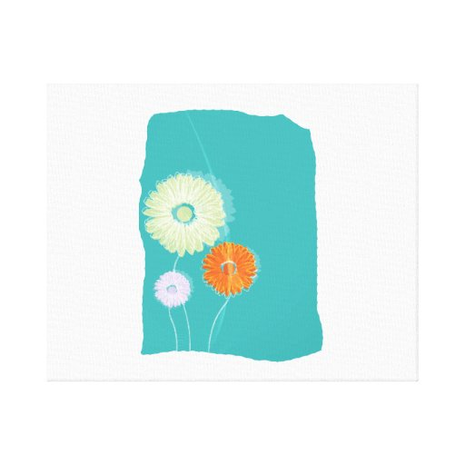 Shasta daisy graphics on blue background.png stretched canvas prints