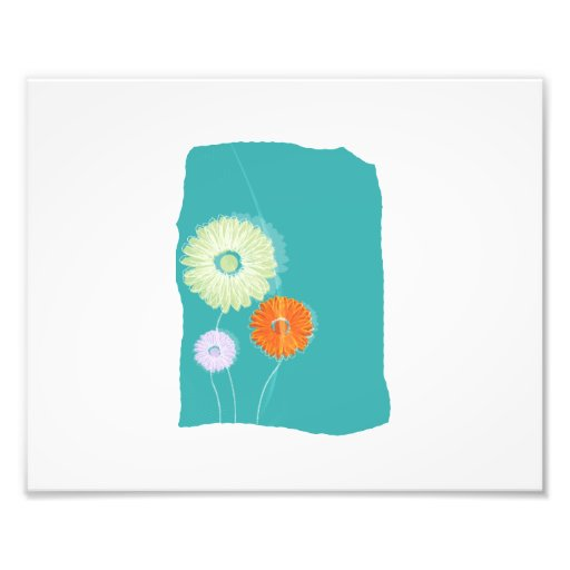 Shasta daisy graphics on blue background.png photographic print