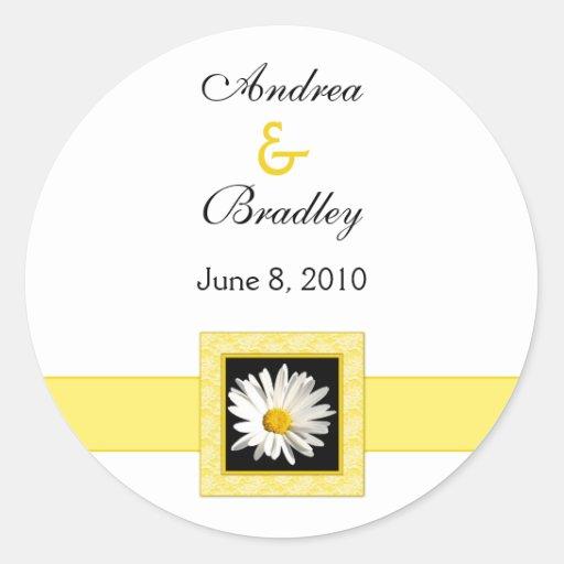 Shasta Daisy Monogram Wedding Sticker