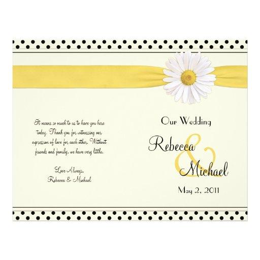 Shasta Daisy Polka Dot Wedding Program Flyers