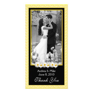 Shasta Daisy Yellow Black Wedding Thank You Card