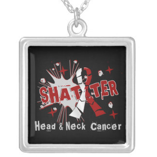 Shatter Head Neck Cancer Square Pendant Necklace