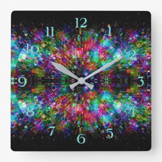 Shattered Glass Spiral Square Wall Clock