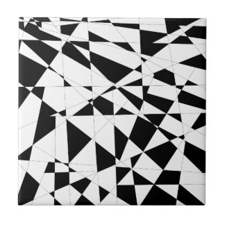 Shattered Life in Black & White Small Square Tile