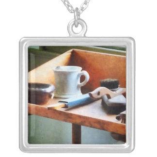 Shaving Mug, Razor and Brushes Square Pendant Necklace