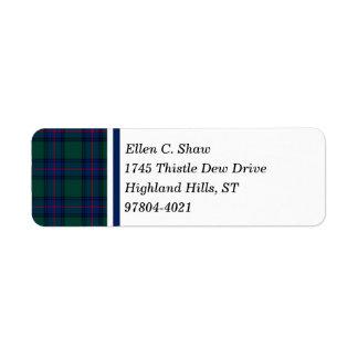 Shaw Clan Green and Royal Blue Scottish Tartan Return Address Label