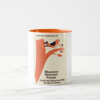 Shawnee National Forest Illinois vintage poster Two-Tone Coffee Mug