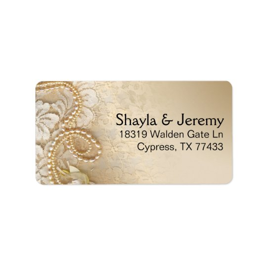 Shayla Pearls and Lace Mailing | eggshell Address Label