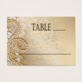 Shayla Pearls & Lace Wedding | eggshell place card