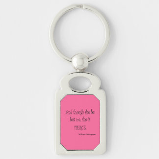 She Be But Little She is Fierce Shakespeare Quote Silver-Colored Rectangle Key Ring