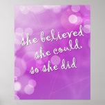 """""""She Believed.."""" Motivational Poster for Girl"""