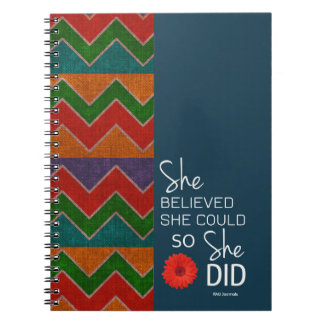She Believed She Could (Chevron-Teal Orange)Spiral Note Book