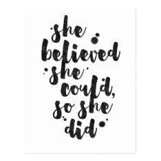 She Believed She Could - Inspirational Card Postcard at Zazzle