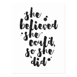 She Believed She Could - Inspirational Card Postcard