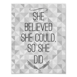 She Believed She Could Inspirational Poster