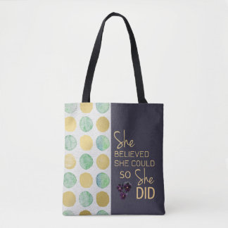 She Believed She Could (Polka Dots Purple) Handbag