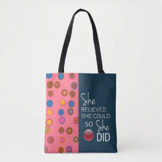 She Believed She Could (Polka Pink Teal) Handbag