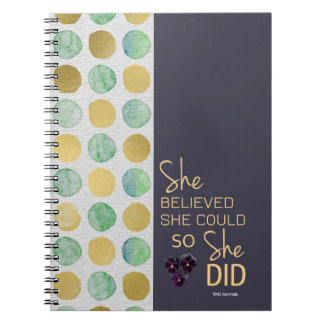She Believed She Could (Polka-Purple Gold) Spiral Spiral Note Books